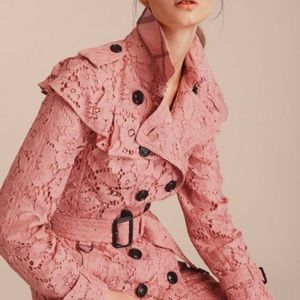 Burberry London ruffle floral lace trench coat